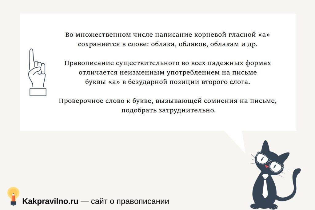 """правописание слова """"облако"""""""